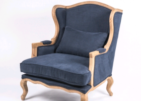 Bergere Chair – Navy Linen